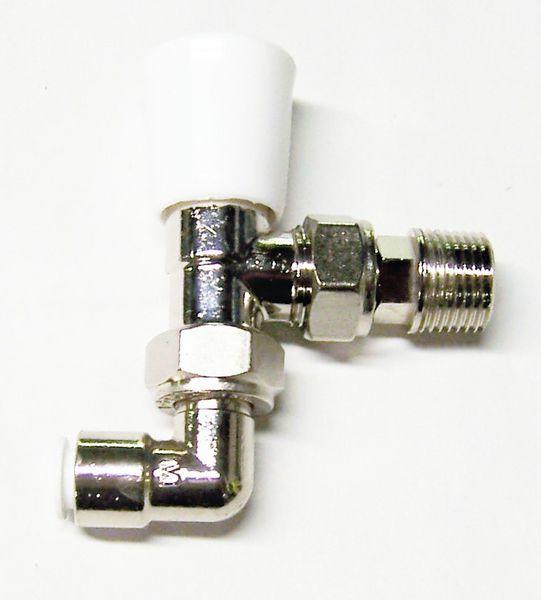 Myson Matchmate 90 Deg Pushfit Plastic Pipe Lockshield Valve 10Mm Nickel
