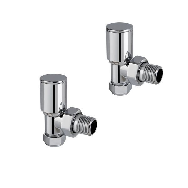 Center Plus Round Top Angled Manual Radiator Valve Twin Pack 15Mm