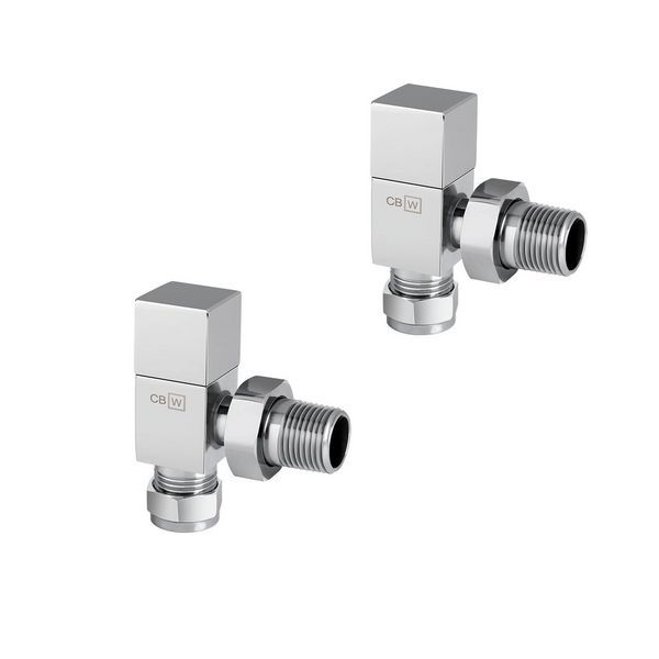 Center Plus Square Top Angled Manual Radiator Valve Twin Pack 15Mm