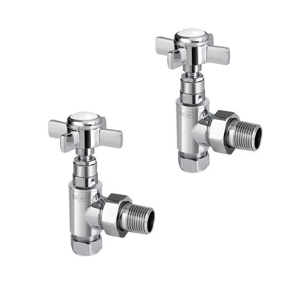 Center Plus Traditional Top Angled Manual Radiator Valve Twin Pack 15Mm
