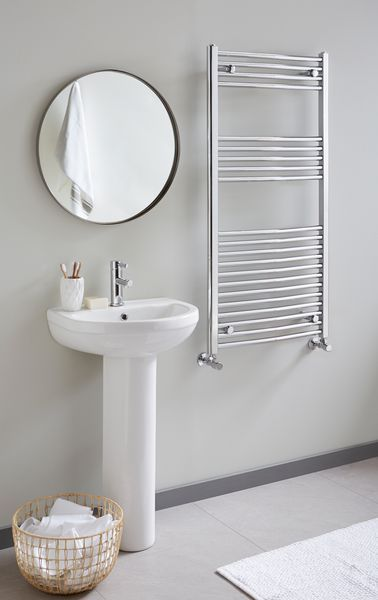 Vogue Combes Central Heating Only Towel Rail 1200 X 500Mm Chrome