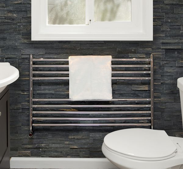 Vogue Pearl Central Heating Towel Rail 600 X 750Mm Polished Stainless