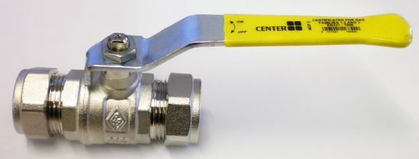 Center Cb Gas Lever Ball Valve 22Mm Brass
