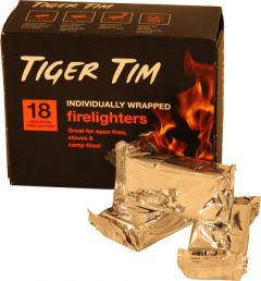 Tiger Tim Ind.Wrapped Firelighters - 18 Pcs (Box Of 16)