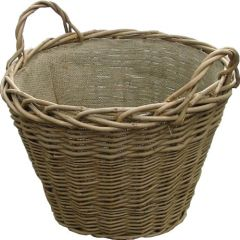Wild Willow Log Basket With Hesian Lining 508 Dia 381H