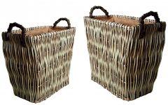 Set2 Mellowed Full Buff Willow Vertical Weave Baskets Large: H50 W56 D37