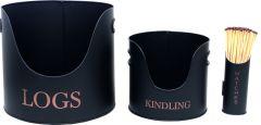 Set Of 3 Gothenburg Log/Kindling & Match Holder