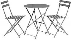 Folding Bistro Set Grey Padbisgry