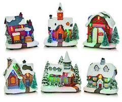 11Cm Lit Led Houses 6 Assorted