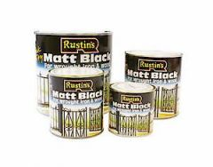 Rustins Matt Black Paint 1L