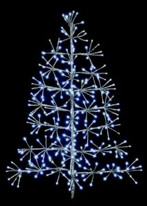 Silver Tree Starburst With White Leds