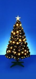 Fibre Optic Tree Black With Warm White Leds