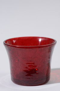 Glass Tealight Transp Crackle Red