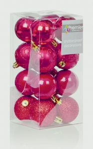 Multi Finish Baubles 16 X 50Mm