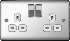 Bg 13A 2 Gang Switch Socket Polished Chrome With White Inserts