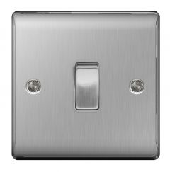 Bg Brushed Steel 10Ax Plate Switch 2 Way 1 Gang