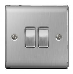 Bg Brushed Steel 10Ax Plate Switch 2 Way 2 Gang