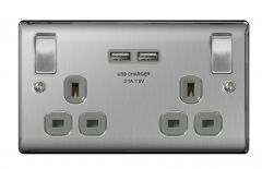 Bg 13A 2 Gang Switch Socket & Usb Brushed Steel With Grey Inserts