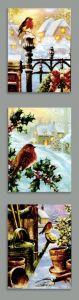 Snowy Robin Scene Canvas 6 Leds