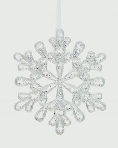 Clear White & Silver Glitter Snowflake Decoration