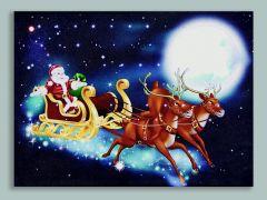 Led Santa & Sleigh Canvas With Timer