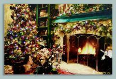 Glowing Fireplace Scene Canvas