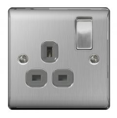 Nexus Brushed Steel Switched Socket 13A Black Inset 1 Gang