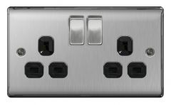 Bg 13A 2 Gang Switch Socket Brushed Steel With Black Inserts