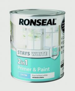 Ronseal Stays White 2In1 Primer & Paint White Satin 750Ml
