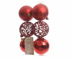 Shatterproof Baubles - 80Mm Mixed Pack 6