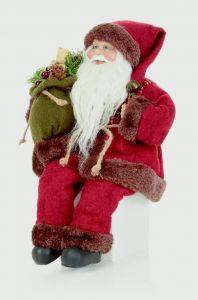 Sitting Tartan Santa With Glasses