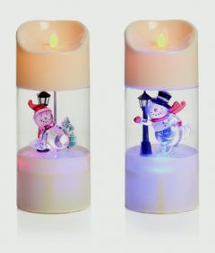 Dancing Flame Snowman Candle
