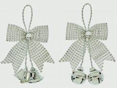 Silverr Diamante Bow & Bell Trim