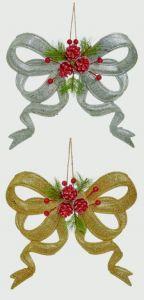Glitter Bow W Floraltrim Gold Slvr Asst