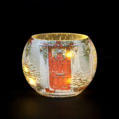 Lit Garland Door Oval Vase
