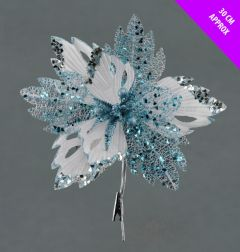 Velvet & Glitter Poinsettia Clip