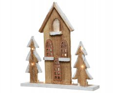 Led Wooden House With Trees