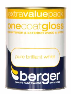 Berger One Coat Gloss 1.25L Pure Brilliant White