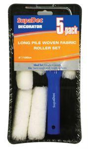Supadec Long Pile Woven Fabric Roller Set 4/100Mm 5 Pack
