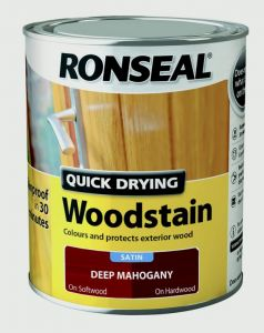Ronseal Quick Drying Woodstain Satin 750Ml Deep Mahogany