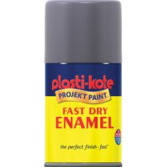 Plastikote Fast Dry Enamel Aerosol Paint Pewter - 100Ml