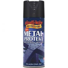 Plastikote Metal Protekt Paint 400Ml Aerosol Gloss Black