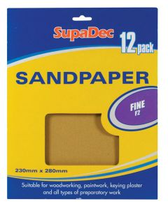 Supadec General Purpose Sandpaper Pack 12 Fine F2