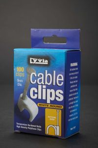 Dencon 9Mm White Round Cable Clips Box 100