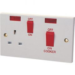 Dencon 45A Cooker Panel With 13A Socket And Pilot Lamp To Bs4177 Bubble Packed