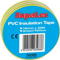 Supalec Pvc Insulation Tapes Green & Yellow 20 Metre Pack 10
