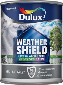 Dulux Weathershield Quick Dry Exterior Satin 750Ml Gallant Grey