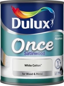 Dulux Once Satinwood 750Ml White Cotton