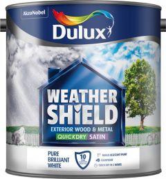 Dulux Weathershield Quick Dry Satin 2.5L Pure Brilliant White