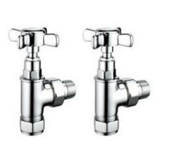 Pegler Yorkshire Traditional Cross Top Angled Radiator Valve Pack 15Mm X 1/2 Chrome Plated